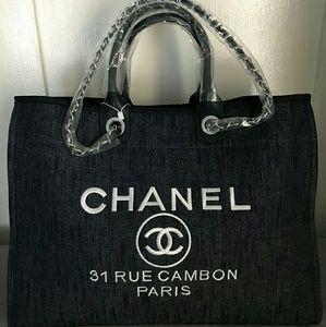 Chanel blue denim tote shoulder bag